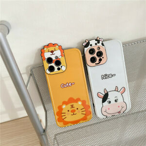 Cute 3D Cartoon Lion Milk Cow Lens Phone Case For iPhone 12 11 Pro Max XS 7 8 SE