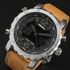 INFANTRY Mens Digital Wrist Watch Date Day Chronograph Brown Leather Sport Army
