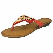 Calzado de mujer sandalias con tiras de color principal rojo talla 37.5