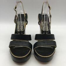 Ferragamo Black & Gold Wedges Size 8.5