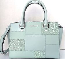 Michael Kors Selma Medium Tile Patch Leather Satchel Celadon