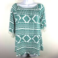 R Rouge Womens Blouse S Blue White Aztec Print Casual Lace Trim Round Neck AA62