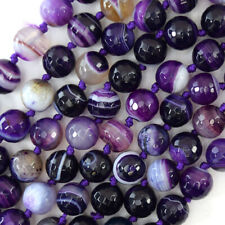 """10mm faceted purple stripe agate round beads 15"""" strand"""