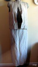 Eileen Fisher Women's Two Piece Vest Long Skirt NWT Beige Silk Linen Size Medium