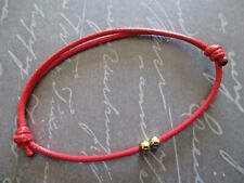 Anklet with 2 Gold Plated Beads Waxed Cotton Cord Friendship Surfer Hobo