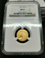 1915 P $2.5 INDIAN Head Quarter Eagle US Pre-1933 Type Gold Coin NGC MS61 BU UNC