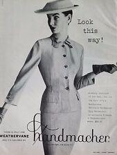 1963 Tailored By Handmacher Weathervane Suit Hat Fashion Ad