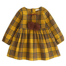 Toddler Baby Girls Long Sleeve Dress Princess Party Prom Plaid Bowknot Dresses