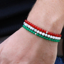 MEGBERRY® Set of 3 Beaded bracelets - White, Green, Red & 925 Sterling Silver