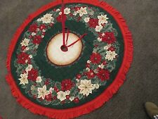 """Poinsettia Christmas Tree Skirt Quilted Fabric COMPLETED Ruffle 55"""" WATER STAINS"""