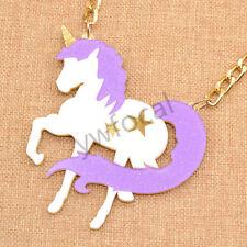 Acylic Unicorn Pendant Necklace Charm Alloy Chain Women Girls Jewellery Gift