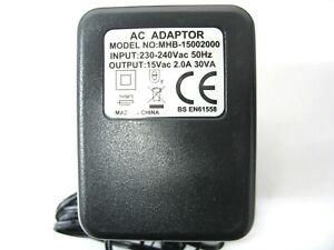 2000ma 15v AC-AC (AC Output) Mains Power Adaptor/Supply/Charger (2a, 30w, 30va)