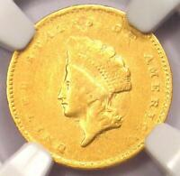 1855-C Indian Gold Dollar G$1 - Certified NGC XF Details - Rare Charlotte Coin!