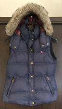 Jack Wills Duck Down Navy Gilet / Body Warmer With Fur Hood Size 8