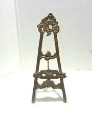 Vintage Brass Easel Art Holder Picture Stand Plate Table Top Display
