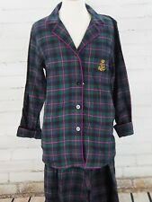 RALPH LAUREN Plaid Flannel Pajamas  Womens Size M Green/Blue Cotton Chest Logo