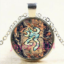 Glass Chain Pendant Necklace #4274 Browning Deer Cabochon Tibetan silver
