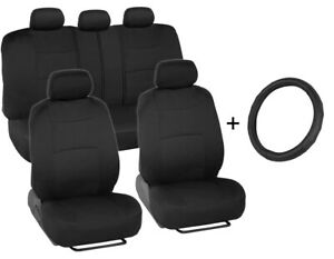 Microfiber Leather Steering Wheel Cover + Car Seat Covers (Full Set) Black