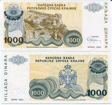 CROATIA 1000 1,000 DINARA 1994 P R30 WITHOUT SERIAL NUMBER UNC