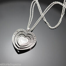 CHOPARD HAPPY DIAMONDS HEART PENDANT NECKLACE 797221-1003 18K WHITE GOLD $23,640