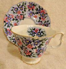 Royal Albert Garden Party Series Blue Bouquet Cup and Saucer