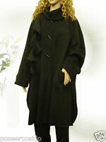 PoCo DeSiGn° LAGENLOOK Poncho Kurz-Mantel Cape schwarz Fleece L-XL-XXXL Onesize