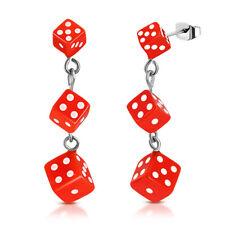 Stainless Steel Resin Orange Cube Dice Drop Stud Earrings (pair)