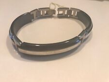 Edward Mirell Black Titanium and Sterling Silver Bracelet