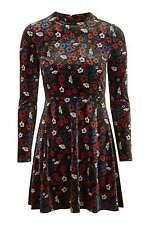 Topshop Velvet Floral Flippy Skater Dress - Size 16