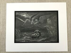 Baby Moses Basket Surrounded by Angels Bible Story Art Engraving Antique Print