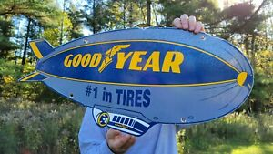 LARGE DATED 1962 VINTAGE GOODYEAR TIRES PORCELAIN TIRE METAL GAS STATION SIGN