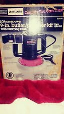 """Craftsman 9"""" 2 speed buffer polisher 9/10678 Vintage w/box, case, pads - Tested"""