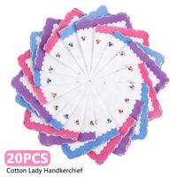 20pcs Women Handkerchief Floral Pattern Ladies Cotton Pocket Square Hanky New AU