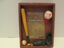 """""""Yesterday's Ballgame"""" 3-D Wood Photo Frame, New"""
