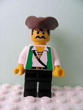 LEGO Minifig pi048 @@ Pirate Green Vest, Black Legs, Pirate Triangle Hat 6249