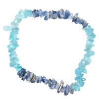 CHARGED Blue Apatite & Blue Kyanite Crystal Stretchy Bracelet + Selenite Heart