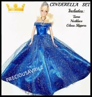 New barbie doll clothes cinderella outfit princess wedding dress clothing.