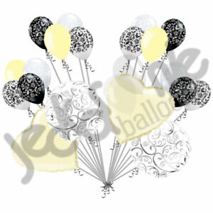 20 pc Ivory Heart & Swirl Balloon Bouquet Wedding Bridal Shower Anniversary Baby