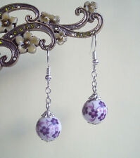 Pretty Purple Flower Porcelain Bead Dangly Earrings in Gift Bag