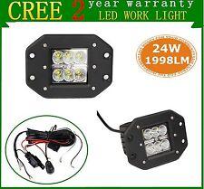 2X 24W Cree LED Work Light Flood Beam Offroad Driving ATV Flush Mount+Wiring Kit