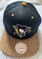 Mitchell And Ness Snapback. Black. BNWOT. Pittsburgh Penguins. Hockey. Cork Brim