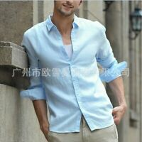 Men's Slim fit Button Front Shirts Blouses Tops Western Linen Casual Long sleeve