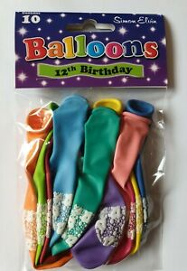 1 PACK OF 10  - 12th BIRTHDAY BALLOONS