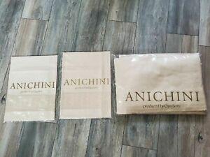 RARE ANICHINI JACQUARD ECRU 3pc KING SHEET SET 2 CASES FLOWER BRANCHES ITALY NEW