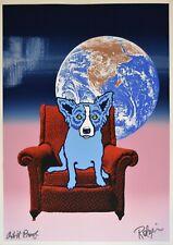 George Rodrigue Blue Dog Space Chair Split Font B/P2 Silkscreen Signed Print Art