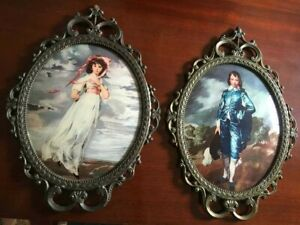 Large Vintage Victorian PAIR of  Blue Boy & Little Girl Made in Italy