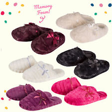 Ladies Womens Memory Foam Slippers House Shoes Anti Slip Sole with Bow Pink Soft
