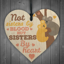 Sisters By Heart Friendship Sign Wood Heart Best Friend Plaque Gift Shabby Chic