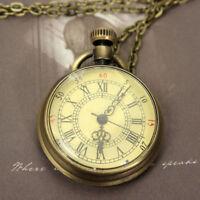 Antique Mechanical Skeleton Steampunk Mens Pocket Watch Open Case Chain