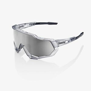 100% Speedtrap Matte Translucent Crystal Grey Cycling Sunglasses - Silver Mirror